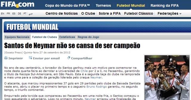 Site Oficial da FIFA !  Homenagem ao Santos F.C.