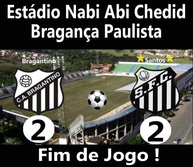 Santos e Bragantino empatam em Bragança Paulista.